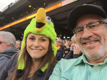 Hanging out with Lauren, who's wearing a hat evoking the Pirates' parrot mascot,